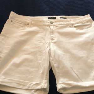White Bermuda Jean Shorts